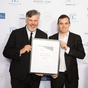 Stephen Dibb with his apprentice at the Diamond Guild Australia Jewelry Award with the finalist award