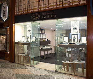 Exterior view of Stephen Dibb Jewellery's Brisbane Arcade jewelry shop just off the Queen St Mall in the centre of Brisbane's CBD