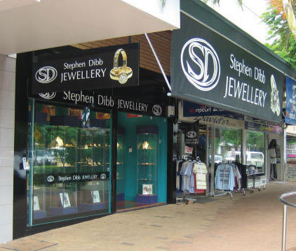 Exterior view of Stephen Dibb Jewellery's Cleveland jewelry shop in the Redsland shire near Brisbane in Queensland Australia