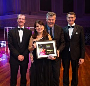 Award being collected by Lisa & Stephen Dibb when Stephen Dibb Jewellery wins corporation citizenship award from Brisbane Lord Mayor 2016 sponsored by Clayton Utz