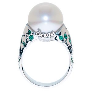 Dramatic white South Sea pearl ring with dare at the base of the setting custom made by Stephen Dibb Jewellery
