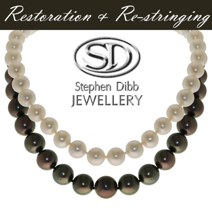 white Australian South Sea Island pearl necklace and black Tahitian pearl necklace with the Stephen Dibb Jewellery logo and the words