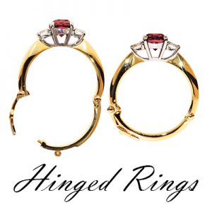 two pictures of the same hinged ring with one being open and one being closed to show the mechanism