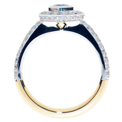 profile of custom designed diamond engagement ring with hidden diamond coorparoo yeronga mt gravatt