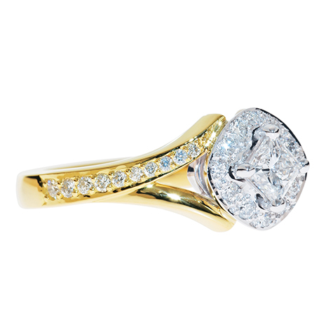 yellow gold engagement ring, side view