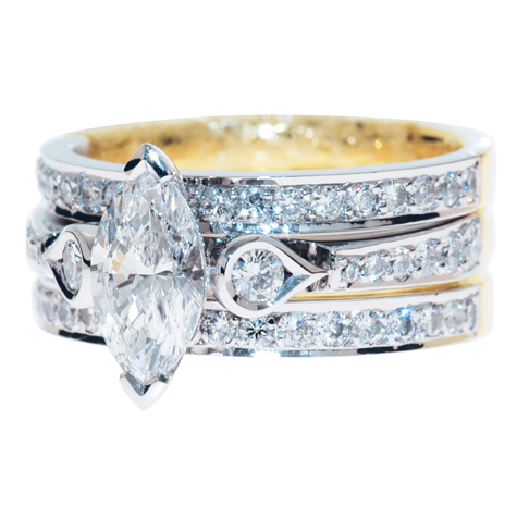 marquise diamond wedding set