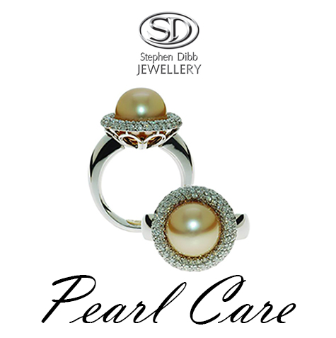 golden pearl ring haloed with white diamonds custom made by Stephen Dibb Jewellery