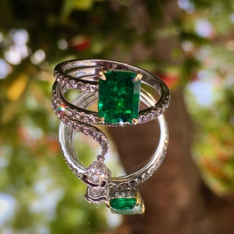 Zambian-emerald-green-emerald-cut-dangling-pear-shaped-diamond-wrap-around-dress-ring-Brisbane-2.jpg