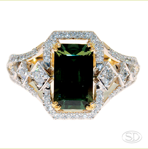 Australian green sapphire designer dress ring handcrafted in Brisbane