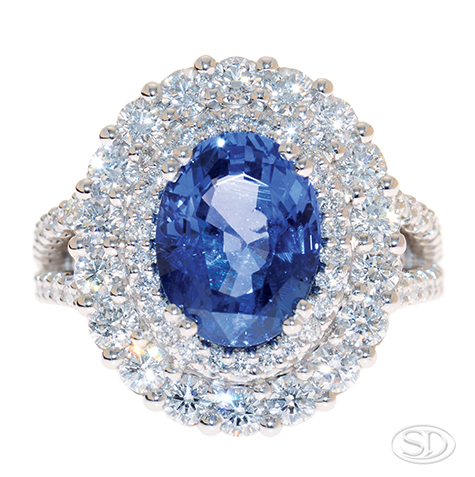handcrafted sapphire with double halo of diamonds