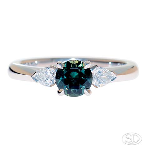 Australian teal AKA partii sapphire ring with diamond shoulders custom made in Brisbane