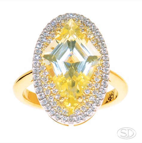 designer handcrafted yellow sapphire cocktail dress ring