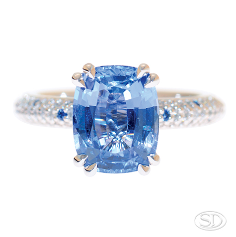 designer blue sapphire solitaire engagement ring with diamond set band