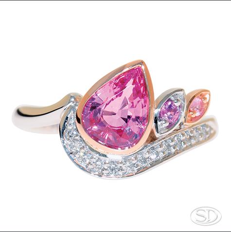 designer pink sapphire & diamond ring handcrafted in Brisbane Australia
