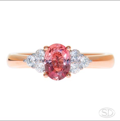 pink sapphire & diamond designer engagement ring handcrafted in Brisbane