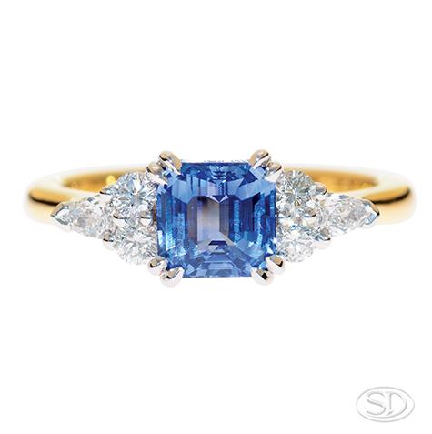 designer blue sapphire ring handcrafted in Cleveland Australia