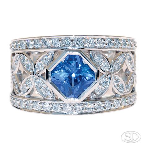 designer wide diamond ring featuring blue sapphire custom made in Brisbane