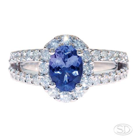designer sapphire ring with split diamond band