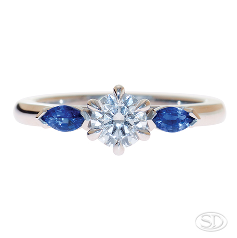 designer diamond engagement ring with sapphire shoulders made in Brisbane