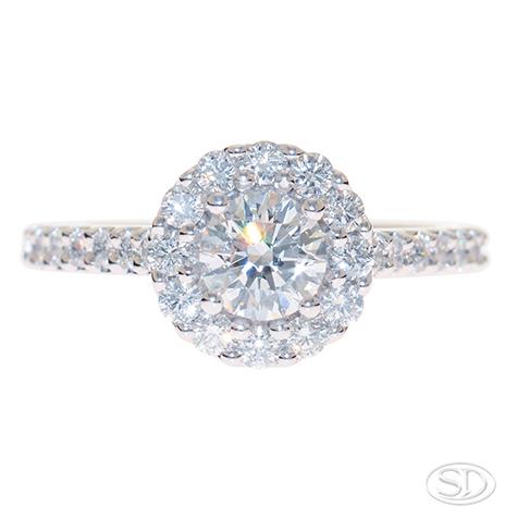 designer halo diamond engagement ring made handcrafted in Brisbane