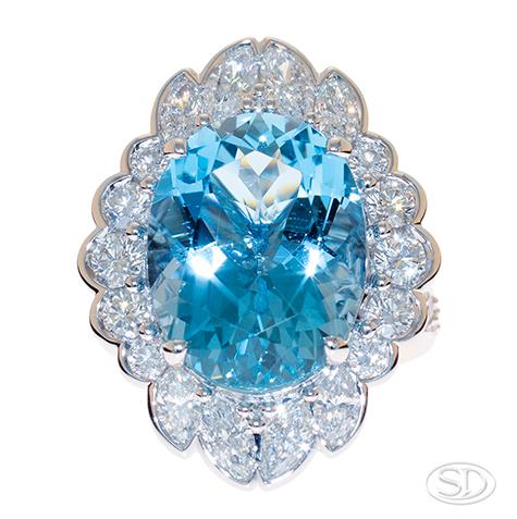 aqua marine & diamond dress ring or cocktail ring