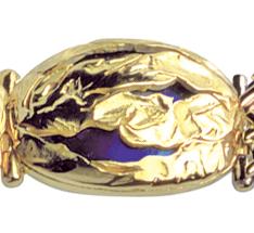 handmade bracelet panel link made of yellow gold & blue titanium