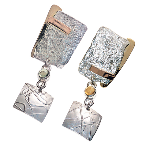 reticulated metal handcrafted earrings